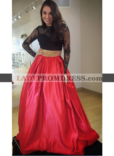 2020 Charming A-Line/Princess Satin Black With Red Two Pieces Long Sleeves Prom Dresses