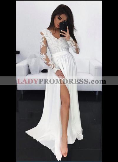 Cheap A-Line/Princess Chiffon Long Sleeves V Neck White Prom Dresses 2021