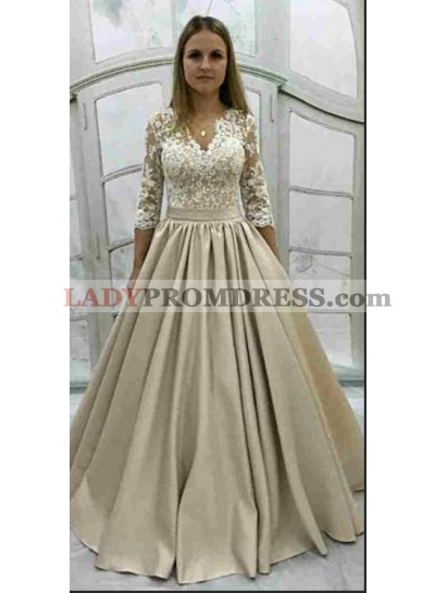 2019 Cheap Satin Long Sleeves V Neck Lace Ball Gown Prom Dresses