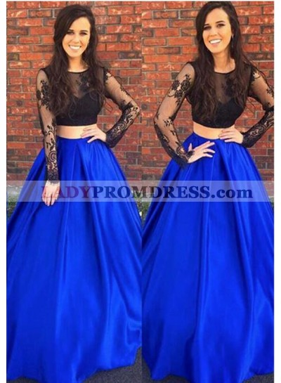 Elegant A-Line/Princess Royal Blue With Black Long Sleeves Two Pieces Lace 2021 Prom Dresses