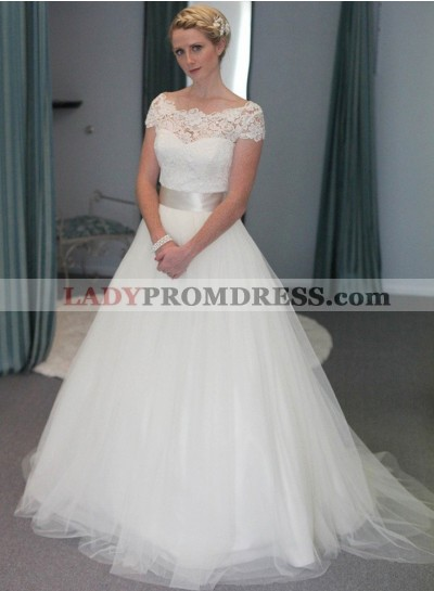 2021 Elegant A Line Tulle With Belt Capped Sleeves Wedding Dresses