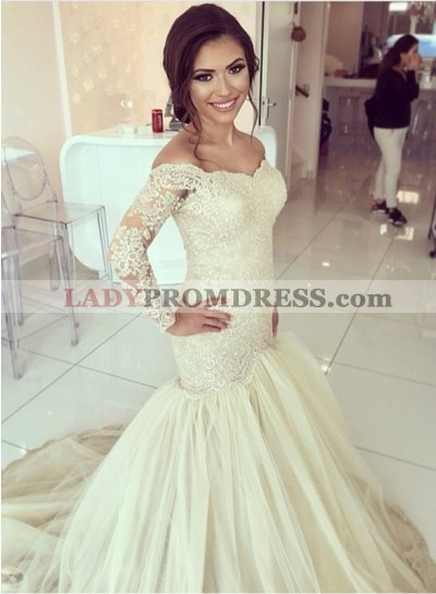 Mermaid Off The Shoulder Lace Sweetheart Tulle 2021 Wedding Dresses