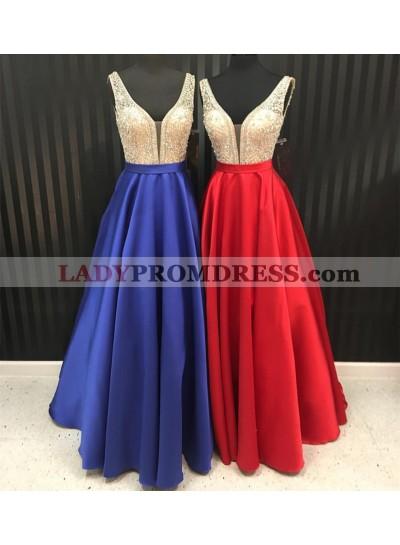 Cheap Satin A-Line/Princess Red Beaded 2021 Prom Dresses