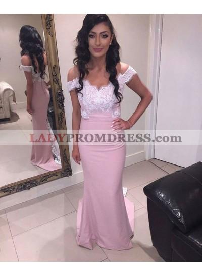 2020 Satin Sheath Off The Shoulder Prom Dresses