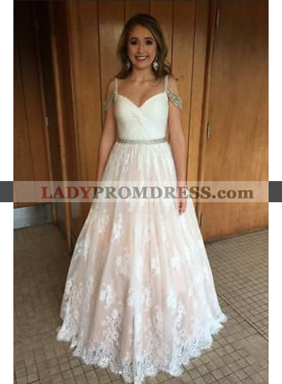 Cheap A-Line/Princess Lace Sweetheart 2021 Prom Dresses