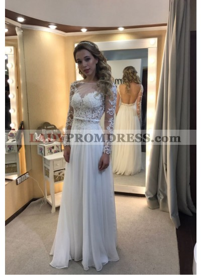 Cheap A-Line/Princess Long Sleeves White Backless 2021 Prom Dresses