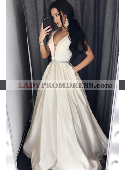 Cheap A-Line/Princess Sweetheart Satin Ivory Prom Dresses 2021
