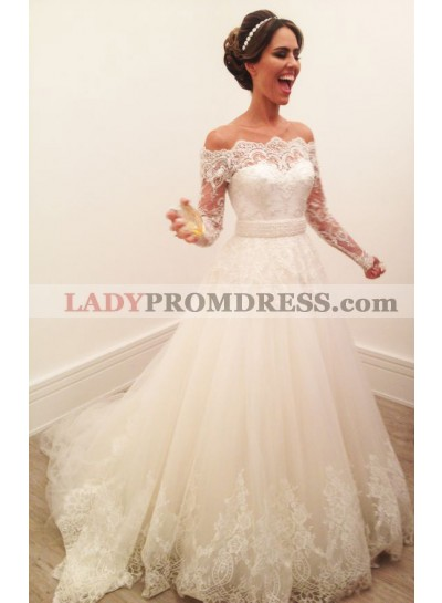 Off The Shoulder A Line Lace Long Sleeves Wedding Dresses 2021