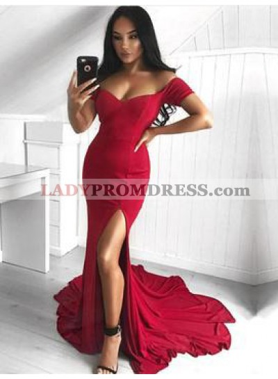 Sexy Trumpet/Mermaid Off The Shoulder Spandex Side Slit 2021 Red Prom Dresses