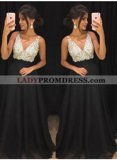 Cheap A-Line/Princess Chiffon Black Beaded 2019 Prom Dresses
