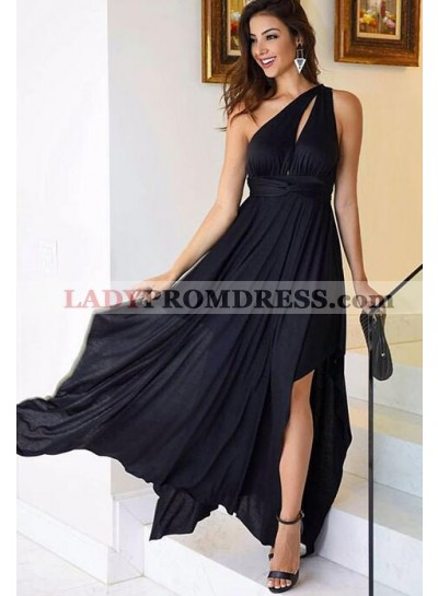 Cheap One Shoulder Chiffon Black 2020 Prom Dresses