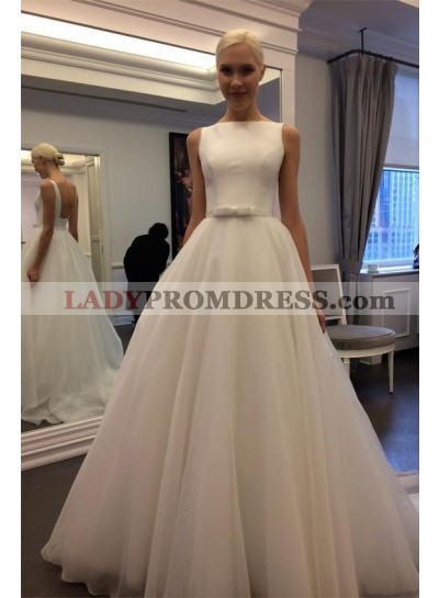 2020 Elegant A Line Organza Floor Length Backless Plain Wedding Dresses