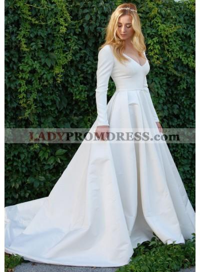 Cheap A Line Satin Long Sleeves Plain Wedding Dresses 2021
