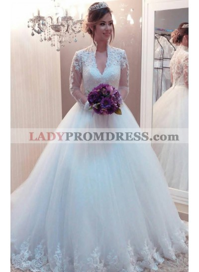 Elegant Ball Gown V Neck Long Sleeves Tulle 2020 Wedding Dresses With Appliques