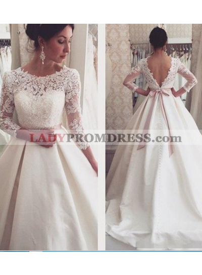 2020 A Line Backless Satin Long Sleeves Bowknot Wedding Dresses