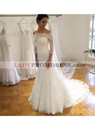 2020 Elegant Sheath Sweetheart Lace Long Sleeves Wedding Dresses