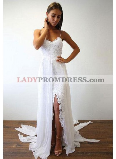 2021 Cheap A Line Spaghetti Straps Chiffon Side Slit Beach Wedding Dresses