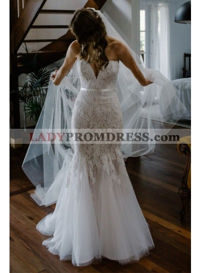 2020 Charming Sweetheart Mermaid Tulle With Lace Wedding Dresses