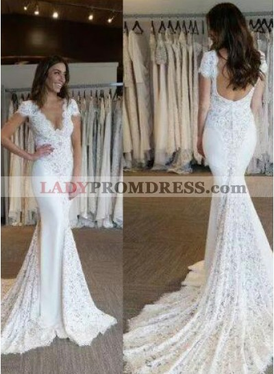 Sexy Mermaid Lace Capped Sleeves 2021 Backless Wedding Dresses