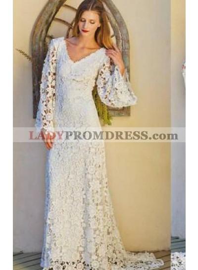 V Neck Long Sleeves Lace A Line 2019 Wedding Dresses