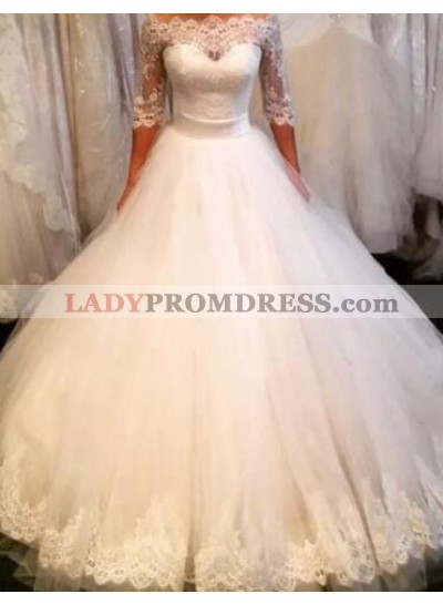 2020 Off The Shoulder Ball Gown Tulle Half Sleeves Wedding Gown