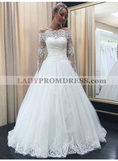 2021 Cheap A Line Off The Shoulder Lace Long Sleeves Wedding Dresses