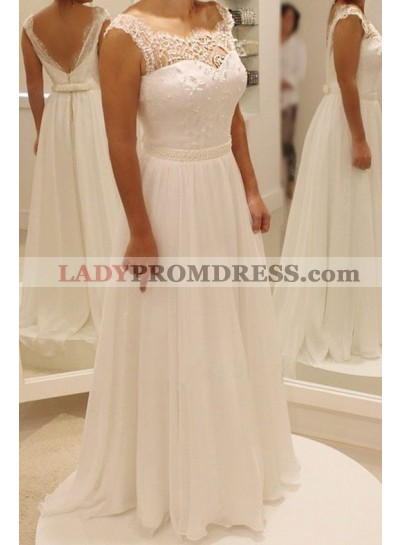 Cheap A Line Chiffon Backless Floor Length 2021 Wedding Dresses