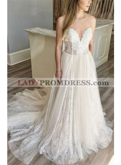 2021 New A Line Sweetheart Lace Over Tulle Wedding Dresses