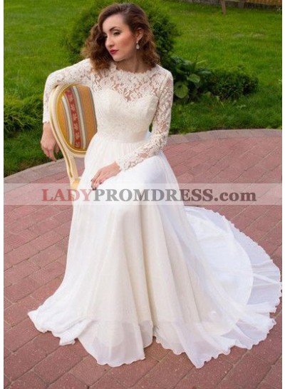 2020 New A Line Chiffon Long Sleeves Lace Wedding Dresses