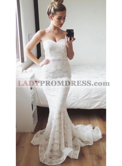 Charming Mermaid Sweetheart Lace Small Train Wedding Dresses 2020