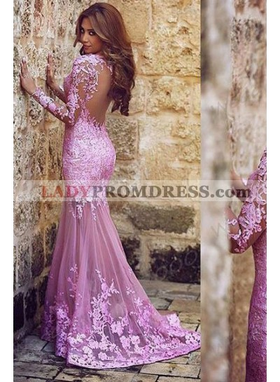 Charming Appliques Mermaid/Trumpet Tulle 2018 Glamorous Pink Prom Dresses