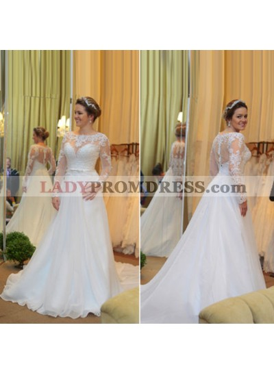 2021 Elegant A Line Organza Long Sleeves With Belt Princess Wedding Dresses