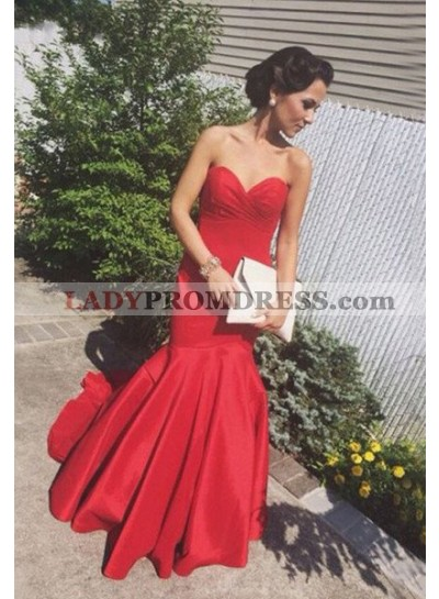 2019 Gorgeous Red Sweetheart Sweep-Train Mermaid/Trumpet Satin Prom Dresses