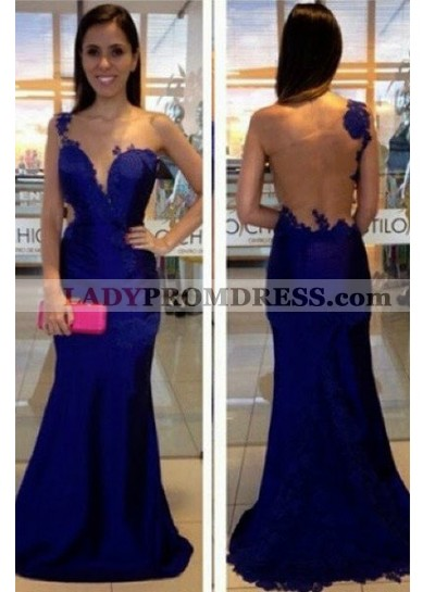 LadyPromDress 2019 Blue One Shoulder Mermaid/Trumpet Appliques Prom Dresses