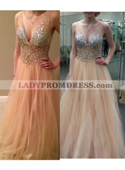 Champagne Princess/A-Line Tulle V-neck Prom Dresses