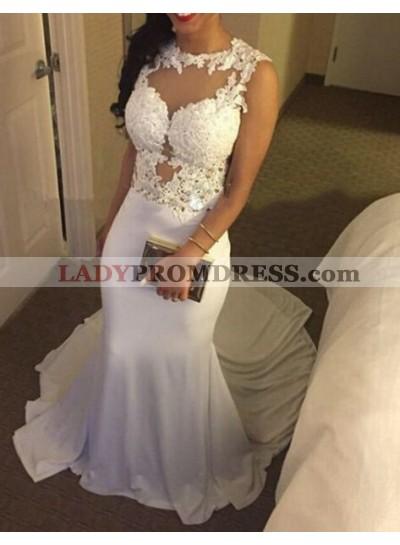 2021 Sexy Mermaid/Trumpet White Long Train Prom Dresses