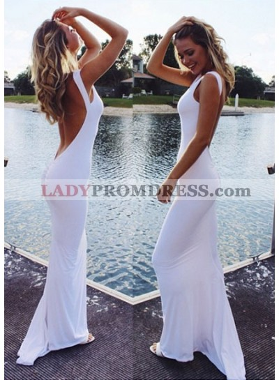 2020 Sexy Backless White Column/Sheath Spandex Prom Dresses