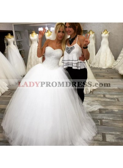 Ball Gown Sweetheart Sequence Tulle Princess Wedding Gown 2020