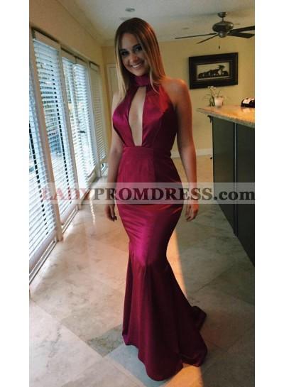 2019 Sexy Mermaid/Trumpet Burgundy Satin Prom Dresses