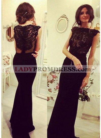 2018 Junoesque Black Elegant Beading Appliques Mermaid/Trumpet Prom Dresses