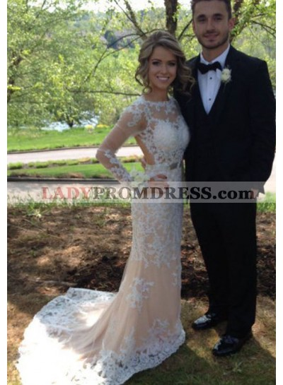2019 Charming Column/Sheath Champagne With White Appliques Long Sleeves Prom Dresses