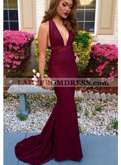 2020 Gorgeous Red V Neck Open Back Mermaid/Trumpet Satin Prom Dresses