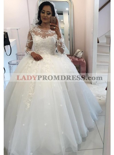 New 2021 Long Sleeves Organza Princess Ball Gown Wedding Dresses
