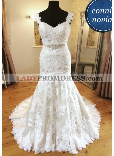 2021 Mermaid Ivory Lace Sweetheart Wedding Dresses With Straps