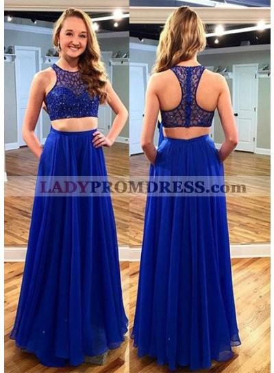 LadyPromDress 2019 Blue Illusion Beading Chiffon Two Pieces Prom Dresses