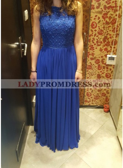 2019 Cheap Princess/A-Line Royal Blue Chiffon Prom Dresses