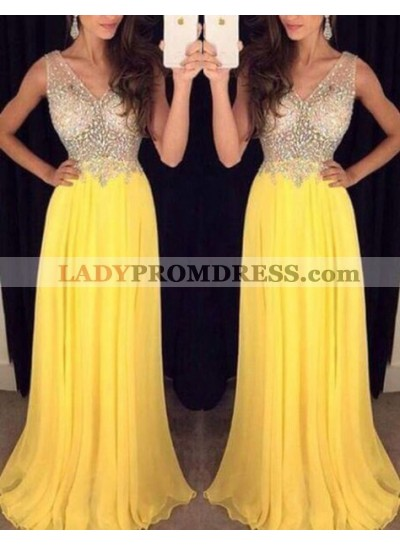 2020 Cheap Chiffon Princess/A-Line Beaded Daffodil Prom Dresses
