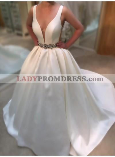 2021 Elegant A Line Satin Deep V Neck Beaded Belt Wedding Dresses