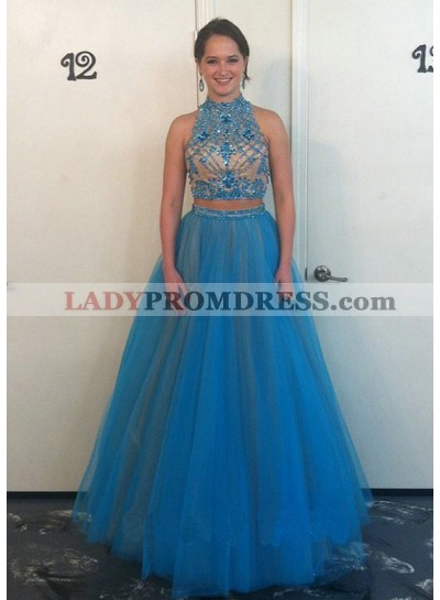 A-Line/Princess Tulle 2021 Two Pieces Prom Dresses