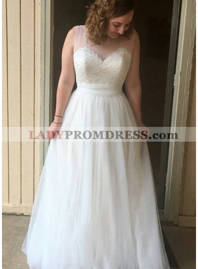 2021 Cheap A Line Tulle With Appliques Floor Length Wedding Dresses
